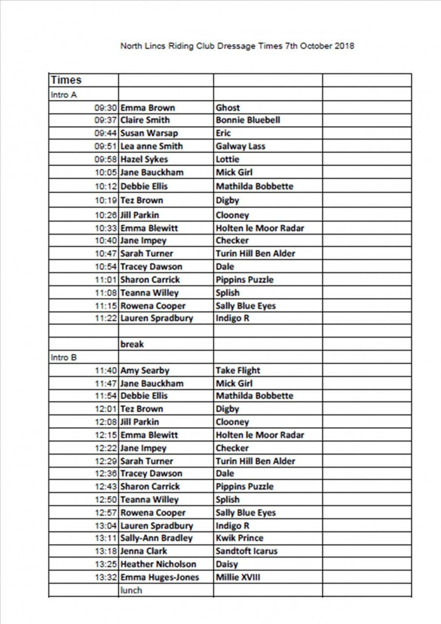 Dressage Times 7th October
